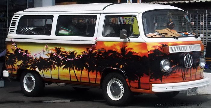 air brush vw bus palmen